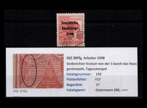 SBZ 1948 PLATTENFEHLER Nr 192 F17 gestempelt (402386)