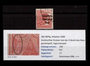 SBZ 1948 PLATTENFEHLER Nr 192 F17 gestempelt (402387)