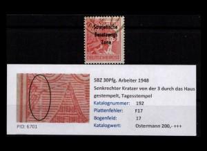 SBZ 1948 PLATTENFEHLER Nr 192 F17 gestempelt (402388)