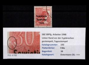 SBZ 1948 PLATTENFEHLER Nr 192 F38a gestempelt (402392)
