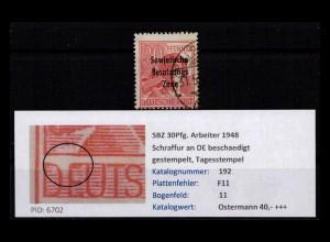 SBZ 1948 PLATTENFEHLER Nr 192 F11 gestempelt (402393)