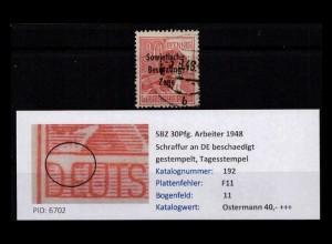 SBZ 1948 PLATTENFEHLER Nr 192 F11 gestempelt (402394)