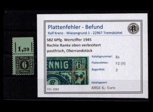 SBZ 1945 PLATTENFEHLER Nr 8x F2 (II) postfrisch (403011)