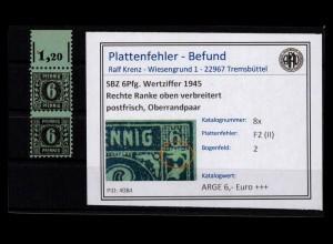 SBZ 1945 PLATTENFEHLER Nr 8x F2 (II) postfrisch (403012)