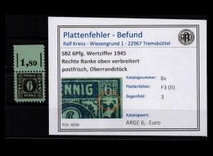 SBZ 1945 PLATTENFEHLER Nr 8x F3 (II) postfrisch (403013)