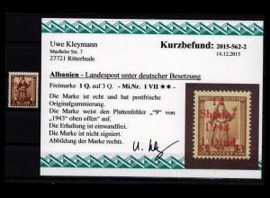 BES. II. WK. ALBANIEN 1943 Nr 1 VII postfrisch (403495)