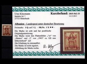 BES. II. WK. ALBANIEN 1943 Nr 1 X postfrisch (403503)