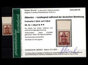 BES. II. WK. ALBANIEN 1943 Nr 1 IX postfrisch (403581)