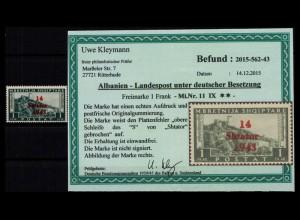 BES. II. WK. ALBANIEN 1943 Nr 11 IX postfrisch (403585)