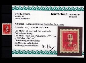 BES. II. WK. ALBANIEN 1943 Nr 6 VII postfrisch (403590)