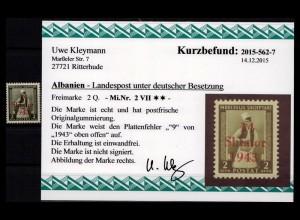 BES. II. WK. ALBANIEN 1943 Nr 2 VII postfrisch (403592)