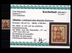 BES. II. WK. ALBANIEN 1943 Nr 1 VII postfrisch (403593)