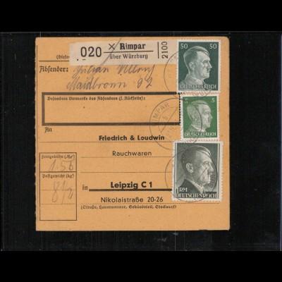 Paketkarte 1943 RIMPAR siehe Beschreibung (210131)