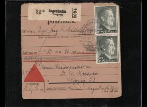 NACHNAHME-Paketkarte 1943 JUGENHEIM siehe Beschreibung (210133)