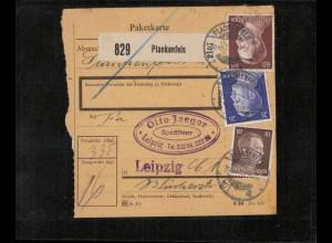 Paketkarte 1943 PLANKENFELS siehe Beschreibung (210138)