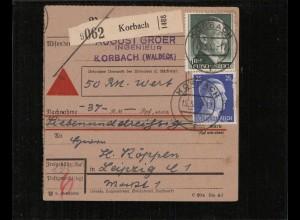 NACHNAHME-Paketkarte 1943 KORBACH siehe Beschreibung (210689)