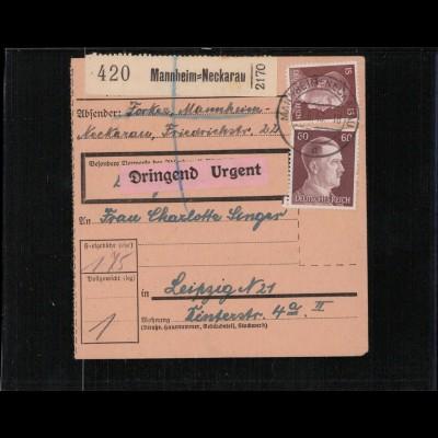 PAKETKARTE 1943 MANNHEIM-NECKARAU siehe Beschreibung (210691)