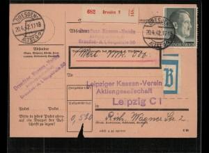 WERT-Paketkarte 1942 DRESDEN siehe Beschreibung (210693)