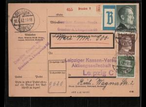 WERT-Paketkarte 1942 DRESDEN siehe Beschreibung (210694)