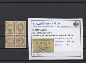 SBZ 1945 PLATTENFEHLER Nr 52atx IV postfrisch (409039)