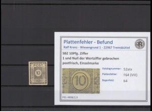 SBZ 1945 PLATTENFEHLER Nr 52atx VIII postfrisch (409040)