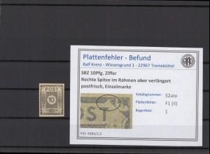 SBZ 1945 PLATTENFEHLER Nr 52atx II postfrisch (409042)