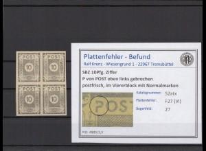 SBZ 1945 PLATTENFEHLER Nr 52atx VI postfrisch (409044)