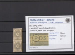SBZ 1945 PLATTENFEHLER Nr 52aux VI postfrisch (409045)