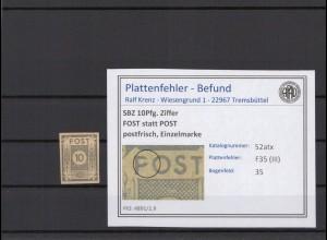 SBZ 1945 PLATTENFEHLER Nr 52atx III postfrisch (409046)