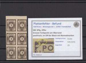 SBZ 1945 PLATTENFEHLER Nr 51atx VIII postfrisch (409059)