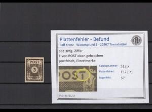SBZ 1945 PLATTENFEHLER Nr 51atx IX postfrisch (409060)