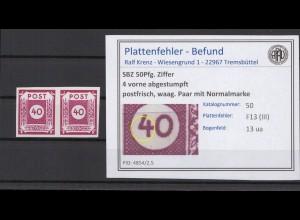 SBZ 1945 PLATTENFEHLER Nr 50 III postfrisch (409062)