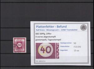 SBZ 1945 PLATTENFEHLER Nr 50 III gestempelt (409063)