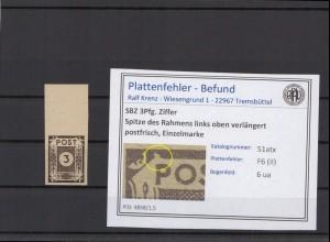 SBZ 1945 PLATTENFEHLER Nr 51atx II postfrisch (409065)