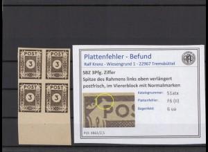 SBZ 1945 PLATTENFEHLER Nr 51atx II postfrisch (409066)