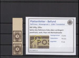 SBZ 1945 PLATTENFEHLER Nr 51atx II postfrisch (409067)