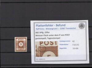 SBZ 1945 PLATTENFEHLER Nr 42 II gestempelt (409069)