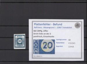 SBZ 1945 PLATTENFEHLER Nr 48 VI postfrisch (409070)
