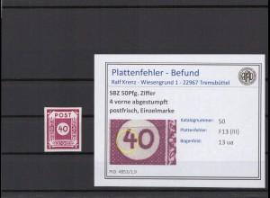 SBZ 1945 PLATTENFEHLER Nr 50 III postfrisch (409074)