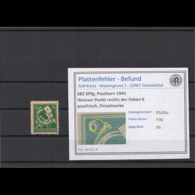 SBZ 1945 PLATTENFEHLER Nr 95AXu F96 postfrisch (213928)