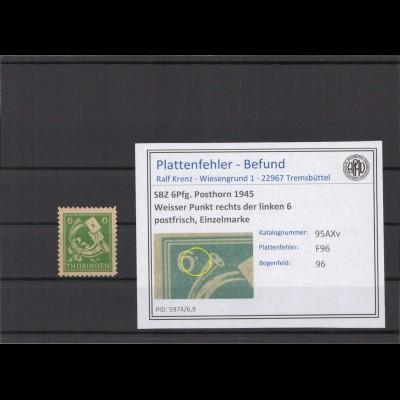 SBZ 1945 PLATTENFEHLER Nr 95AXv F96 postfrisch (213929)