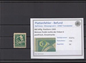 SBZ 1945 PLATTENFEHLER Nr 95AYy F96 postfrisch (213932)