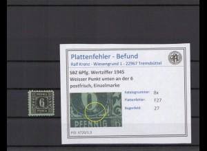 SBZ 1945 PLATTENFEHLER Nr 8x F27 postfrisch (409257)