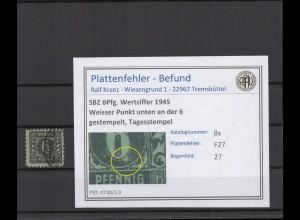 SBZ 1945 PLATTENFEHLER Nr 8x F27 gestempelt (409258)