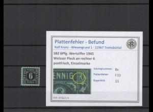 SBZ 1945 PLATTENFEHLER Nr 8x F33 postfrisch (409264)