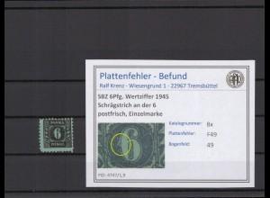 SBZ 1945 PLATTENFEHLER Nr 8x F49 postfrisch (409273)