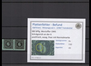 SBZ 1945 PLATTENFEHLER Nr 8x F49 postfrisch (409274)