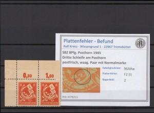 SBZ 1945 PLATTENFEHLER Nr 96AXw I postfrisch (409332)