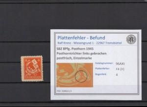 SBZ 1945 PLATTENFEHLER Nr 96AXt II postfrisch (409336)