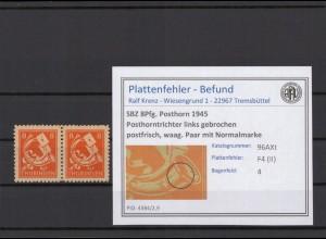 SBZ 1945 PLATTENFEHLER Nr 96AXt II postfrisch (409337)